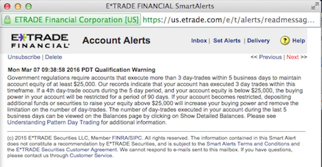 PDT warning ETRADE